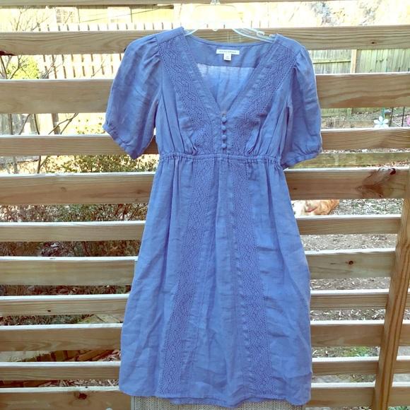2407601770f Banana Republic Dresses   Skirts - Banana Republic Blue Empire Waist Linen  Dress XS